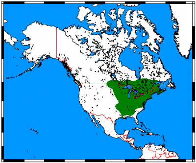 Eastern Chipmunk habitat map