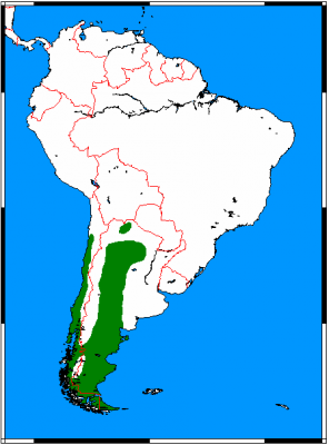 South American Gray Fox habitat map
